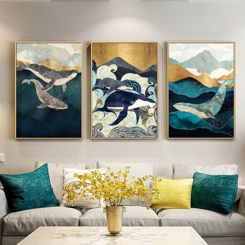 Abstract Whale Cloud Sea Mountain Wall Art Canvas Painting Nordic Posters And Prints Animals Wall Pictures For Living Room Decor