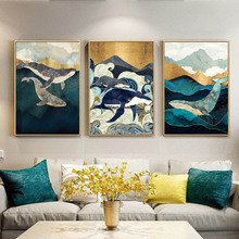 Abstract Whale Cloud Sea Mountain Wall Art Canvas Painting Nordic Posters And Prints Animals Pictures For Living Room Decor