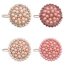 Korean Sweet Faux Pearl Rhinestone Hair Clip Women Girls Hair Styling Decorative Small Hairgrip Hollow Out Round Circle Barrette faux sapphire alloy hollow out floral barrette