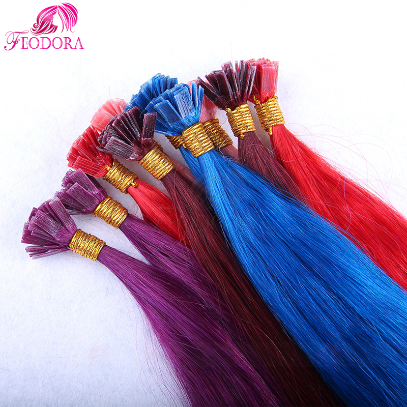 Prebonded Remy Hair Extensions Silky Straight Flat Tip Human 1g U I Nail Extens Red Pink Blue Purple Color In Fusion