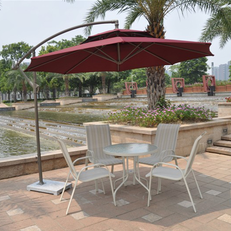 2.7 Meter Steel Iron Duplex Sun Umbrella Patio Umbrella Garden Parasol Sunshade Outdoor Cover For Coffee Shop (no Stone)