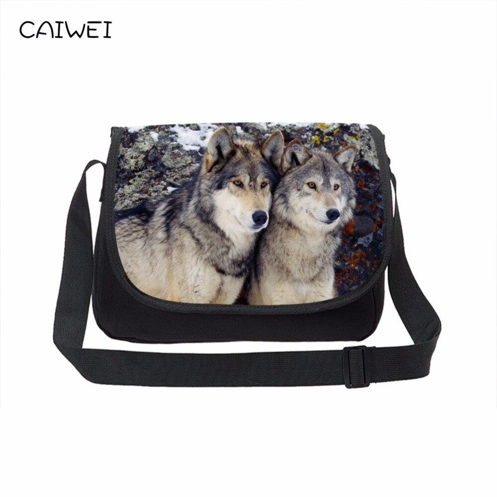 цена на Large Canvas Messenger Bags Cool Wolf Men's Crossbody Bag Animal Print Teenager School Laptop Shoulder Bag Casual Travel Bag