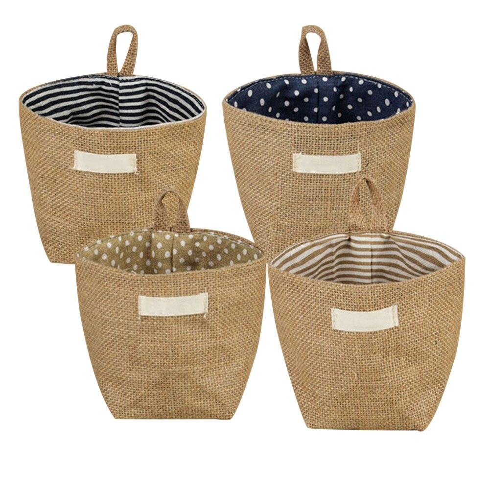 Fashion Storage Box Jute Cotton Sundries Basket Mini Desktop Storage Bag Hanging Box TB Sale