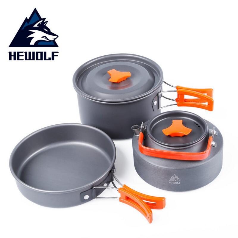 Hewolf Outdoor Pot Kettle Camping Cookware Aluminum Foldable Tableware Trekking Picnic Camping Cooking Set Picnic Equipment