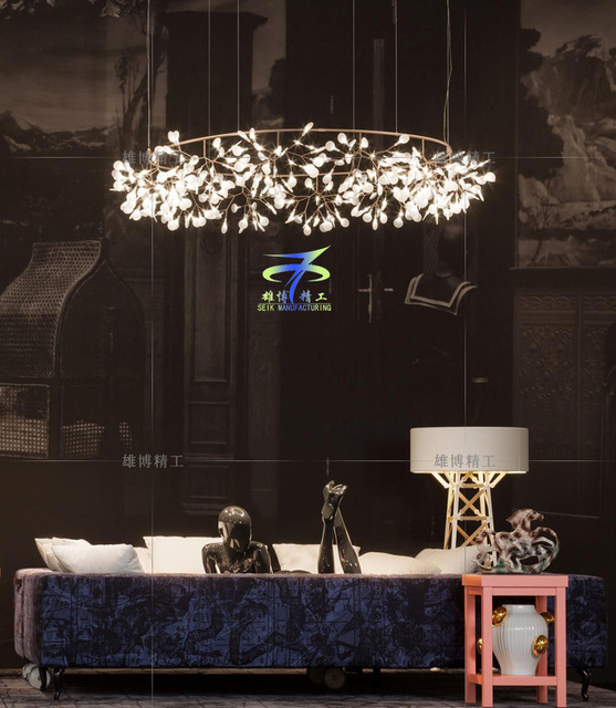 Special Technology Modern Minimalist Style Living Room Dining Engineering LED Olive Branch Chandelier Firefly