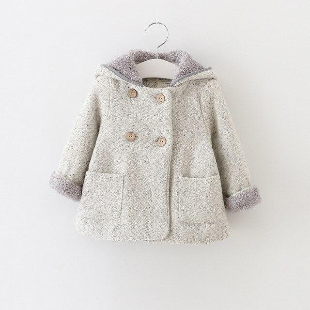 Девушки шерсть зимнее пальто девушки зимние пальто одежда для новорожденных просто стиль сплошной цвет девушки верхняя одежда