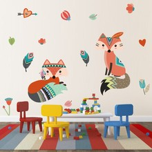 Funny Tribal Animals Indian Tribe Wall Stickers For Kids Rooms Bedroom Home Decor Cartoon Fox Decals PVC Feather Mural Art