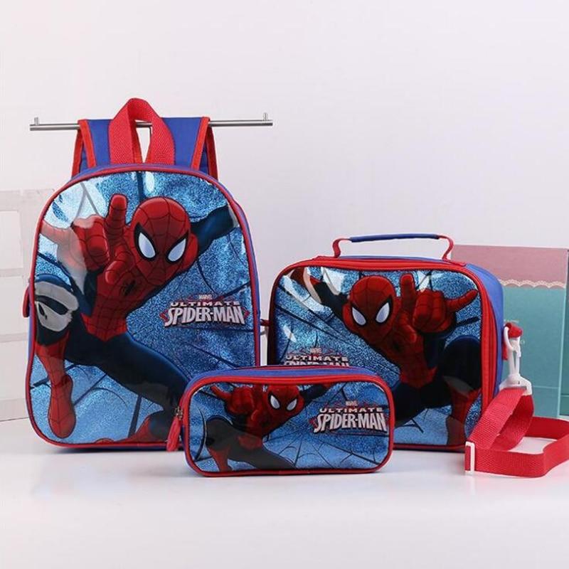 New Fashion Cartoon Boys Backpack School Bag With Lunch Pencil Case Set 3 For Kids Kindergarten Preschool School Toddler Bags