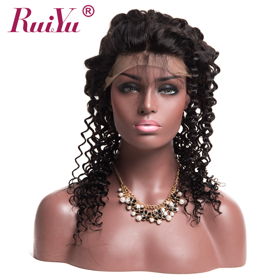 RUIYU Deep Wave 360 Lace Frontal Closure Natural Hairline Brazilian Remy Human Hair Swiss Lace Closure With Baby Hair #1B Color