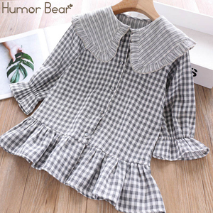 Image 2 - Humor Bear 2019 Children Clothes Spring & Autum Girls Dress Brand New Plaid Doll Collar Long Full Sleeves Princess Party Dress