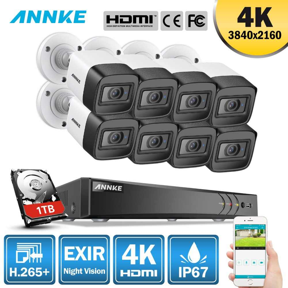 ANNKE 4K HD Ultra Clear Footage 8CH CCTV Security System 5MP 5in1 H.265+ DVR With 8X 8MP Weatherproof Outdoor EXIR Night Vision