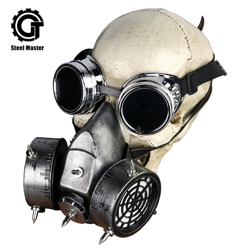 Gothic Punk Rock Glasses And Respirator Clothing Accessories Retro Men's Women Silver Punk Military Goggles Gas Mask