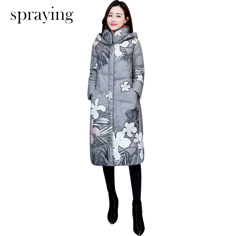 ผู้หญิงเสื้อฝ้ายเล็กๆสดผ้าฝ้ายพิมพ์กับ hood ใหญ่ฤดูหนาวขนสัตว์แจ็คเก็ตผู้หญิง slim ยาวแขน parka-ใน เสื้อกันลม จาก เสื้อผ้าสตรี บน   1