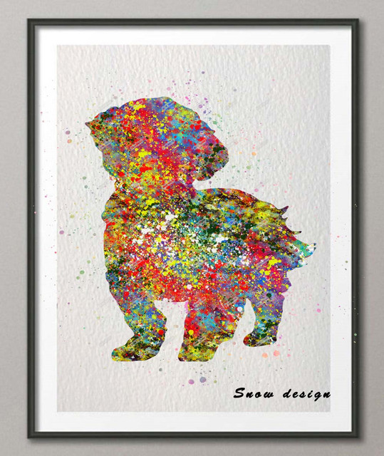 Original Shih Tzu Dog Watercolor Canvas Painting Dog Wall Art Poster Print  Pictures Living Room Home