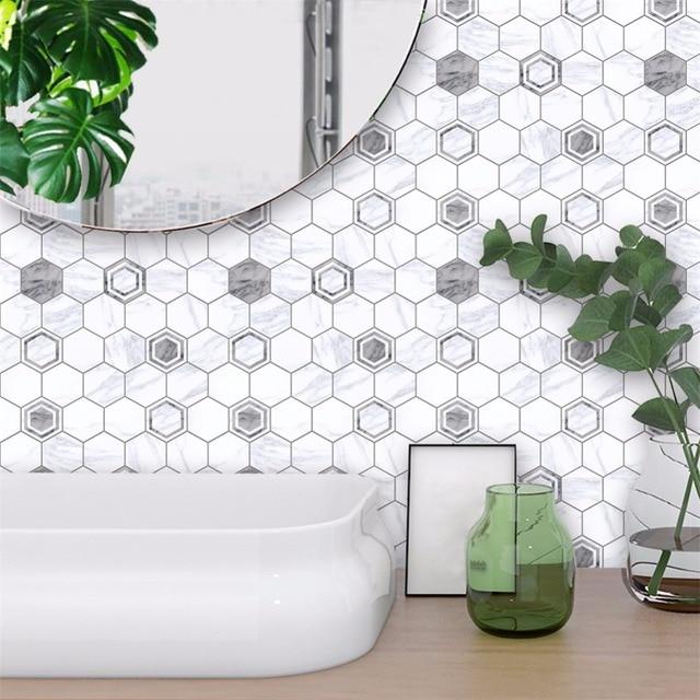 Yanqiao Grau Und Weiß Marmor Wand Aufkleber Bad Küche Back Fliesen  Dekoration Wasserdichte Wandbild D 10