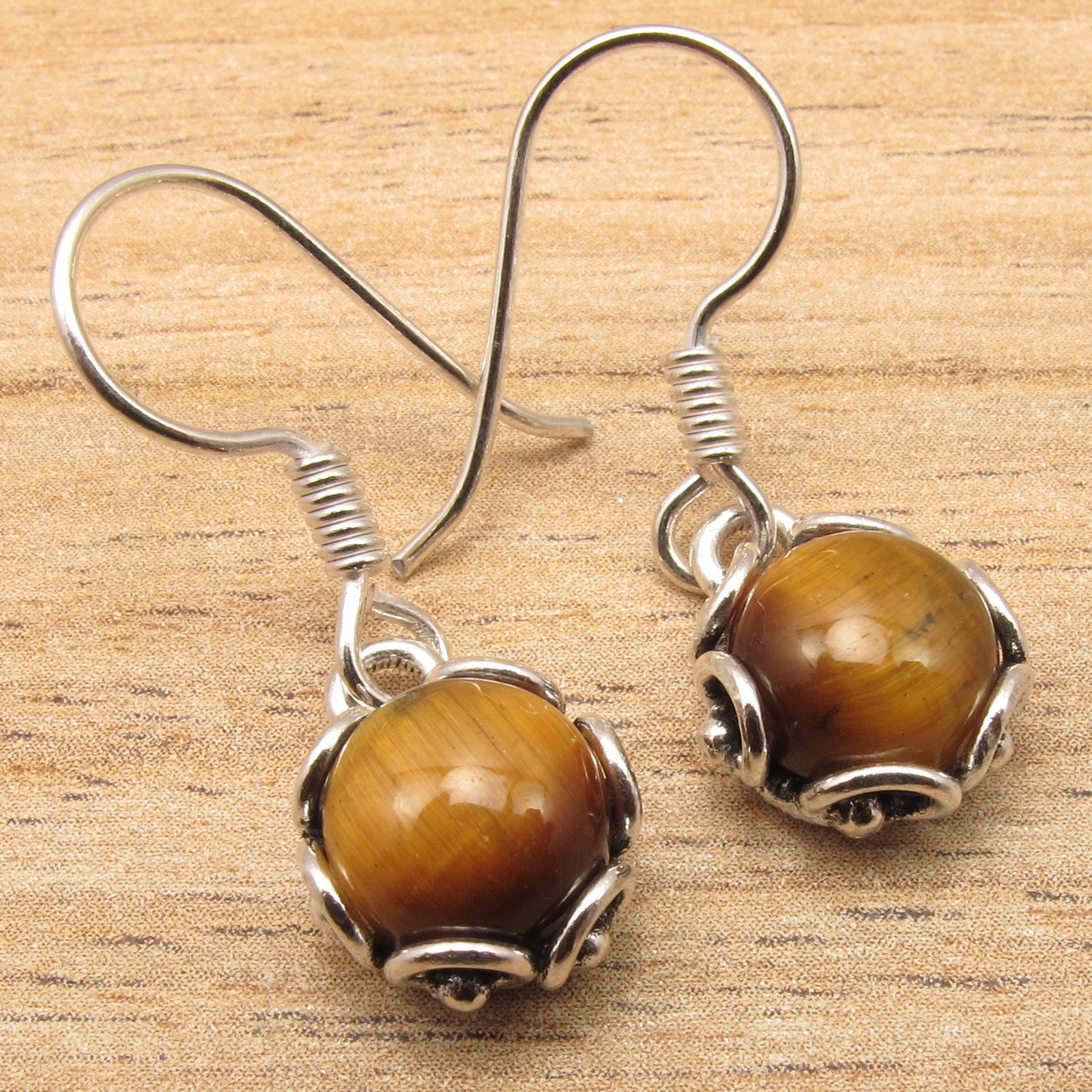 Cab Brown TIGER'S EYE ETHNIC Earrings !! Silver Plated HANDCRAFTED Jewelry