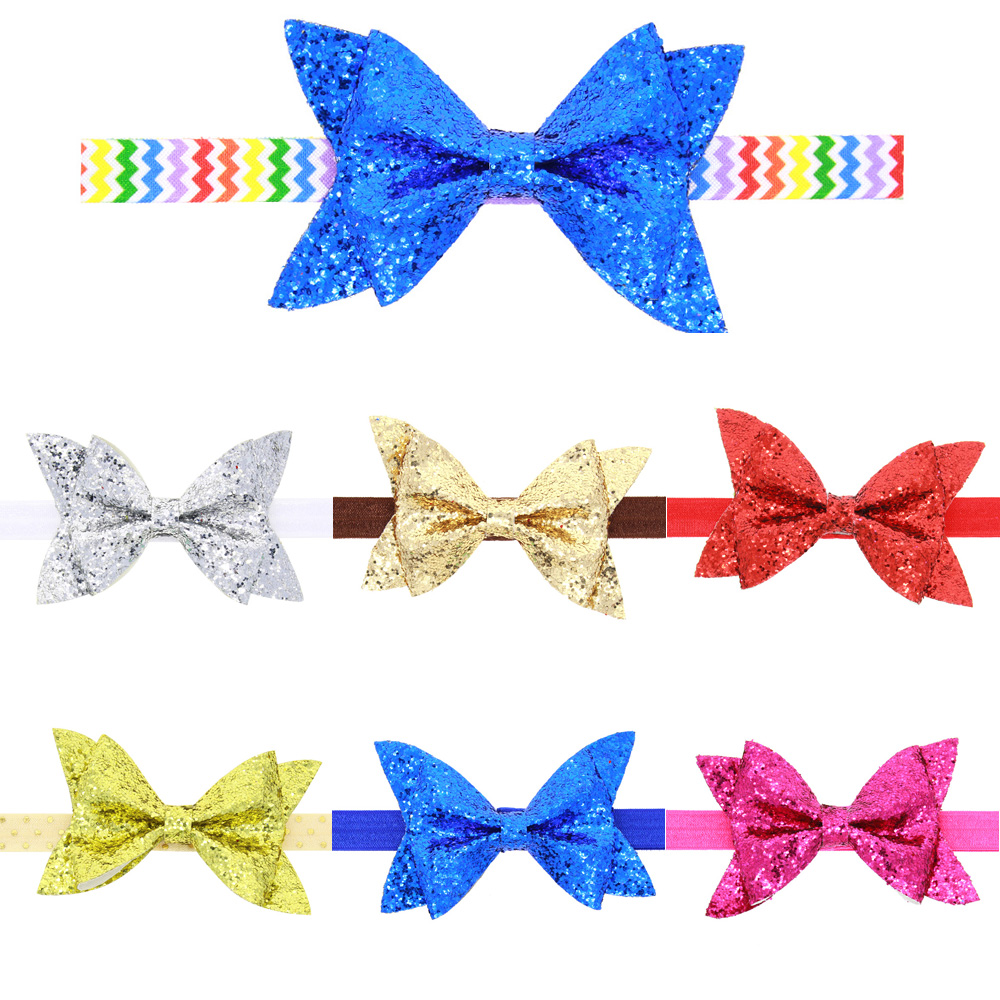 TWDVS Baru Lahir Shiny Bow Knot Hair band Anak Perempuan Elastis Bow - Aksesori pakaian - Foto 3