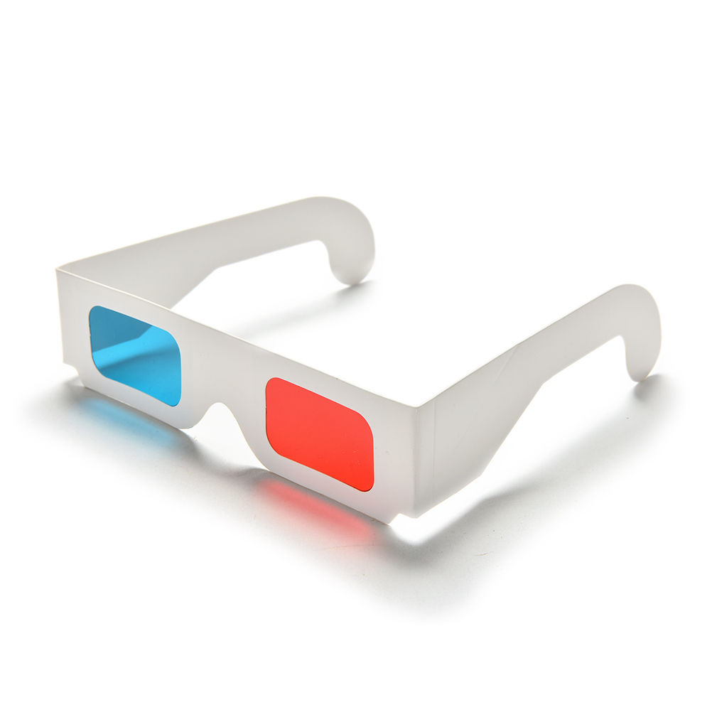 10pcs/Lot Universal Anaglyph Cardboard Paper Red & Blue Cyan 3D Glasses For Movie