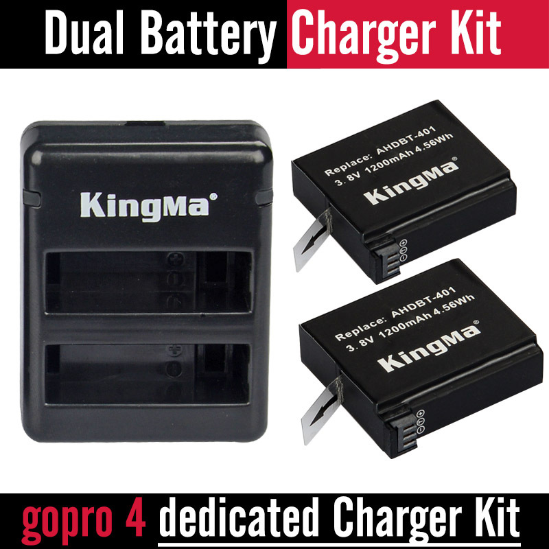 KingMa accessories go pro hero 4 battery go pro camera AHDBT-401 AHDBT401 AHDBT 401 FOR gopro hero4 battery + Charger