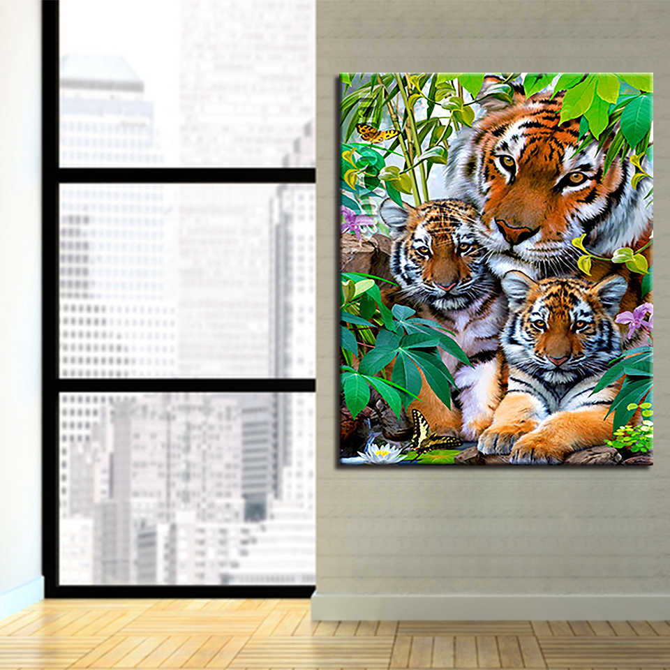 Oil Painting By Numbers DIY Coloring Tiger Family Canvas Pictures Hand Painted Wall Art Abstract Drawing Acrylic Home Decor Gift