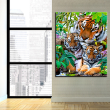 цены Oil Painting By Numbers DIY Coloring Tiger Family Canvas Pictures Hand Painted Wall Art Abstract Drawing Acrylic Home Decor Gift
