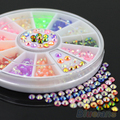 24 Packs Colorful Fluorescent 3D Acrylic Glitters DIY Decal Nail Art Stips Stickers Wheel 4PRQ