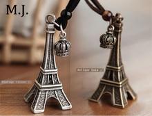 2014 New Fashion Hip Hop Eiffel Tower Pendant Necklace Vintage Gold Long Chain Crown Charm Necklaces Pendants Women Jewellery stylish eiffel tower pendant necklace for women
