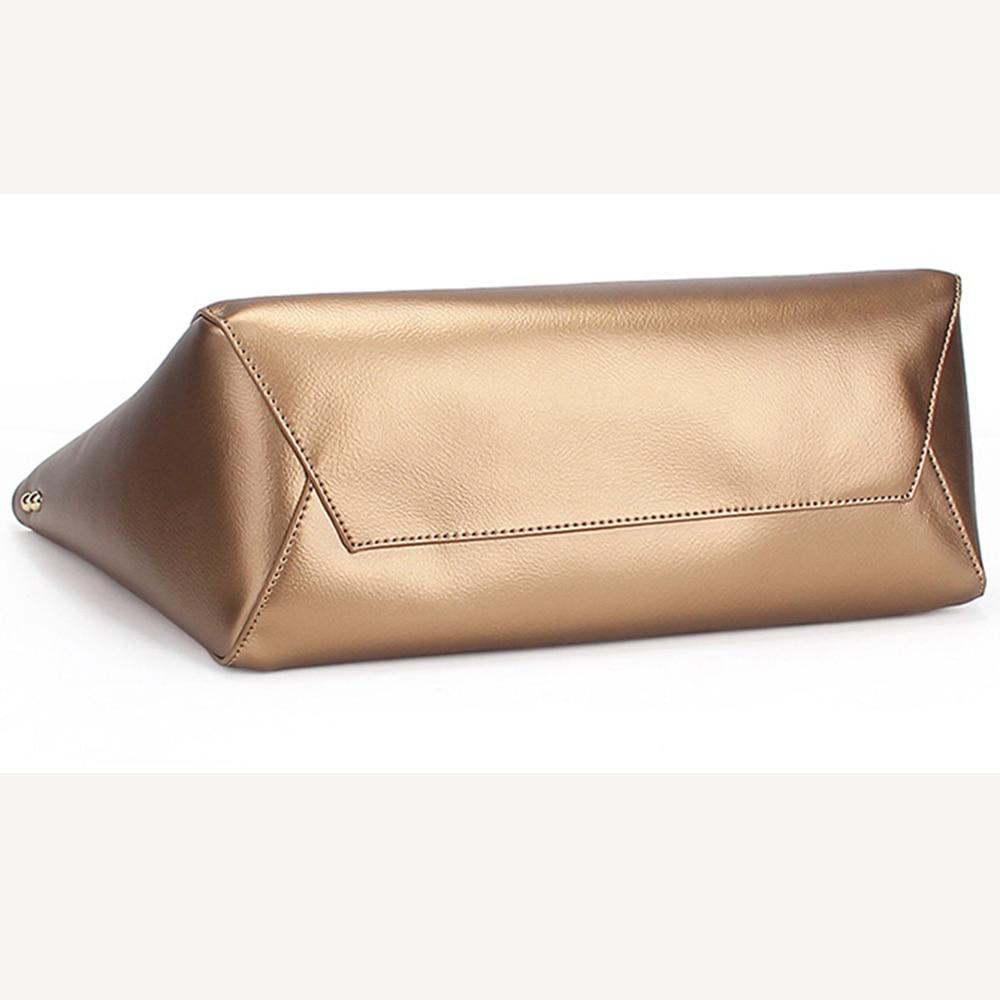 Zency Luxury Gold Women Shoulder Bag 100% cuero genuino bolso de gran - Bolsos - foto 5