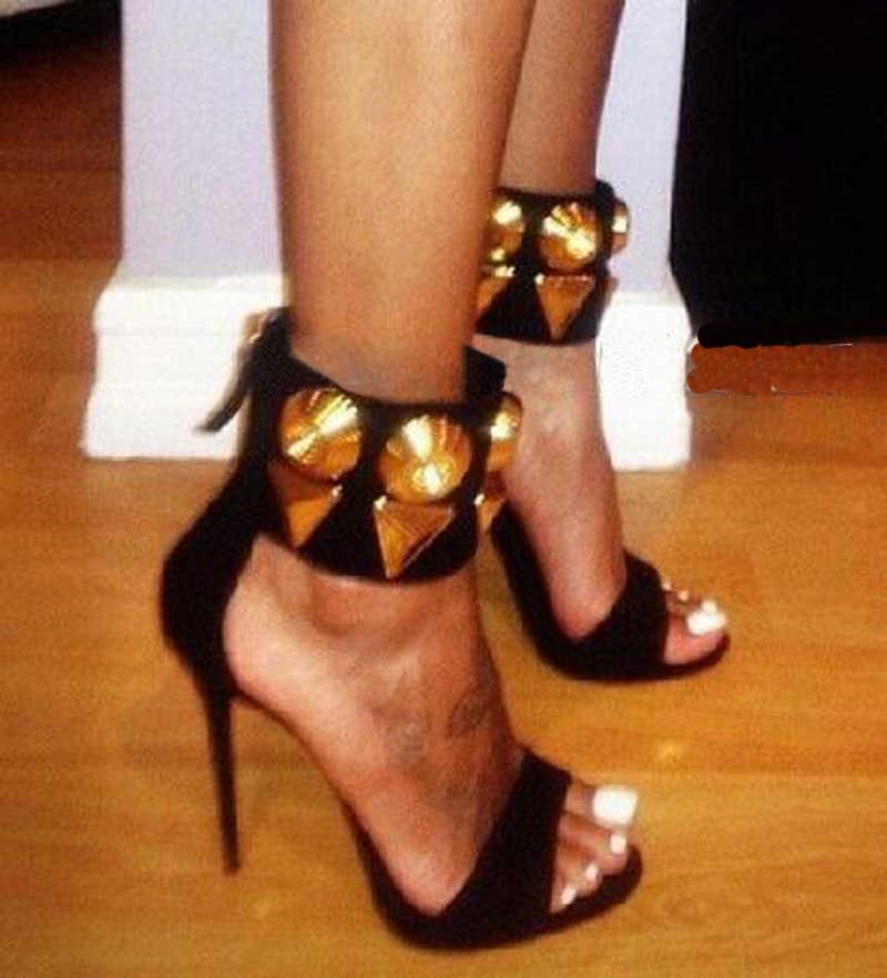 Sıcak Seksi Bayanlar Yaz Ayak Bileği Kayışı Altın Metal Geometrik Dekor Stiletto Topuk Sandalet Kadınlar Faux Süet Parti Elbise Sandal Ayakkabı