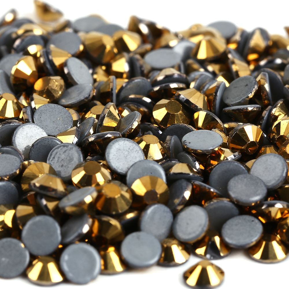 AAAA + Quality Gold Hematite DMC Hurtigruten Rhinestones ss6 ss10 ss16 ss20 ss30 Iron On Flatback Hot Fest Rhinestones For Luxury Dress