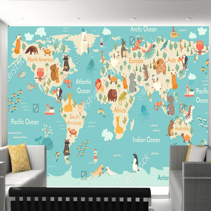 Aliexpress.com : Buy Custom Children Wallpaper, Cartoon World Map Murals  For The Living Room Childrenu0027s Room Wall Wallpaper PVC From Reliable Map  Paper ...