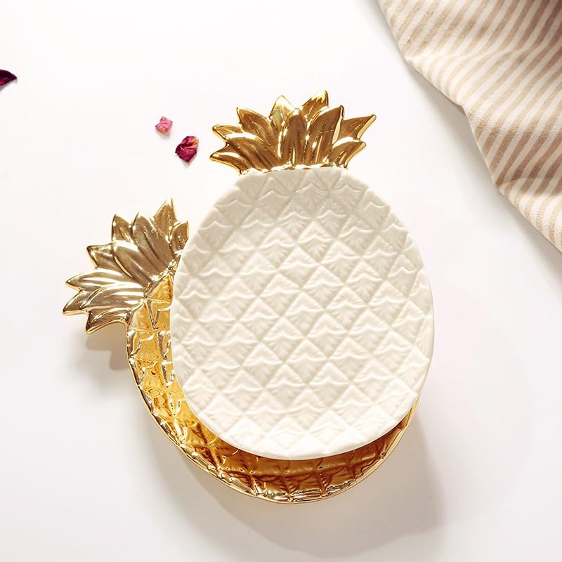 Western-style Ceramic Tableware Porcelain Plate Dinner Dessert Plate Desktop Jewelry Storage Decoration Plates