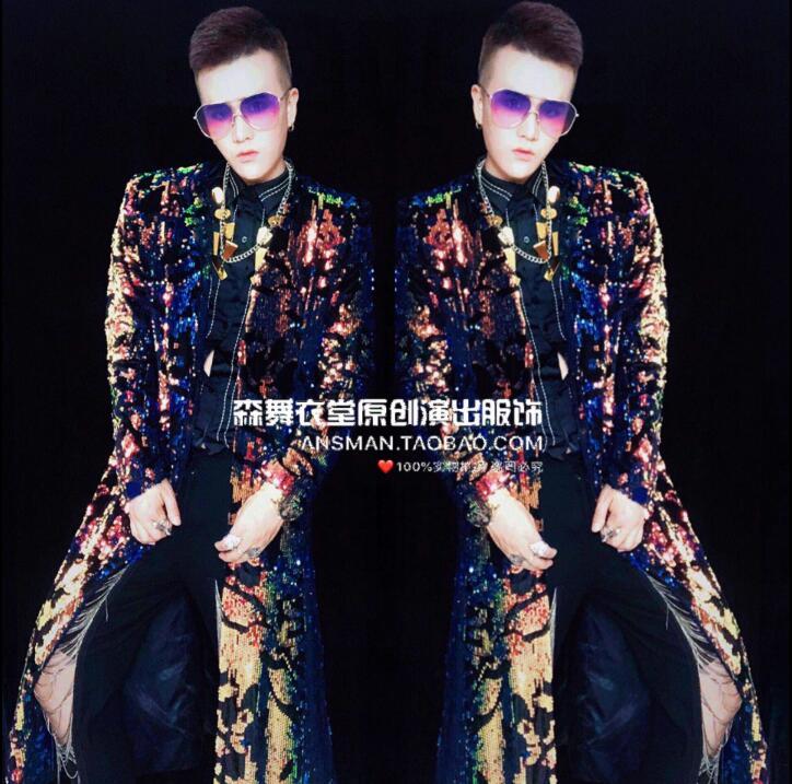Mâle chanteur DJ discothèque Trench coat bar métal couleur magique longue veste hommes personnalité mode parapluie manteau hommes scène costume
