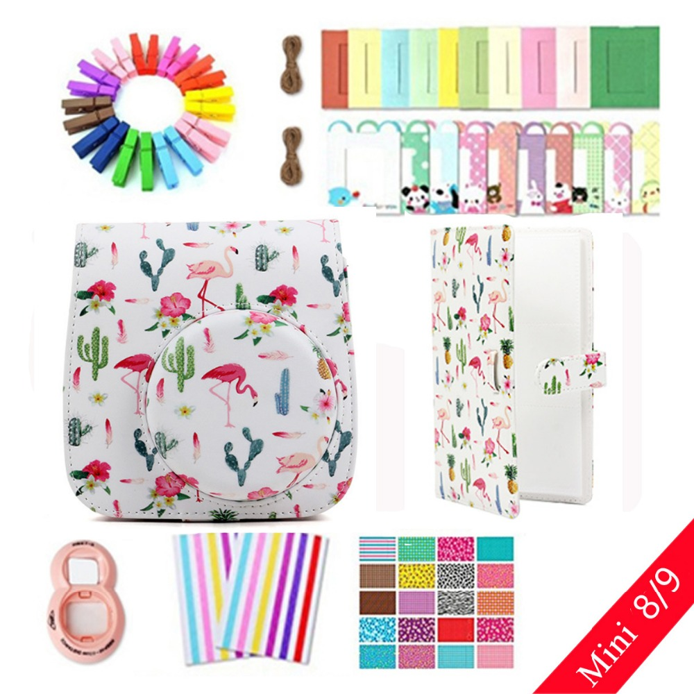 8 in 1 Accessories Set Flamingo Camera Bag Case Photo Frame Stickers Wall Frame Clip with Rope for Fujifilm Instax Mini 8 9 8 in 1 Accessories Set Flamingo Camera Bag Case Photo Frame Stickers Wall Frame Clip with Rope for Fujifilm Instax Mini 8 9