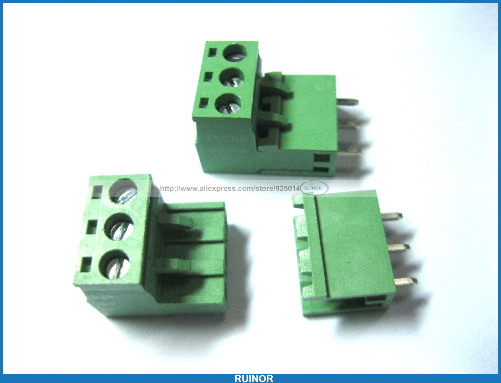 100 Pcs Green 3 Pin 5 08mm Screw Terminal Block Connector Pluggable Type