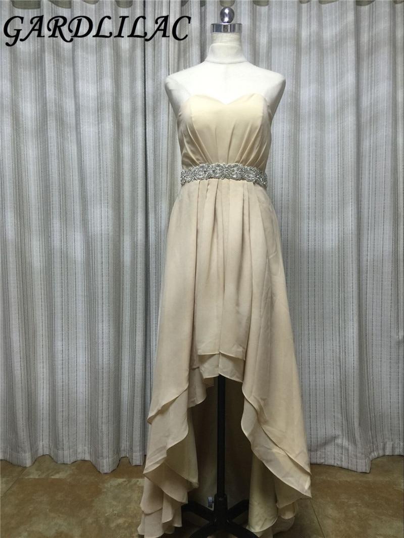 Gardlilac Photo réelle Champagne salut-bas robe de demoiselle d'honneur avec perles en mousseline de soie sans bretelles robe de soirée de mariage