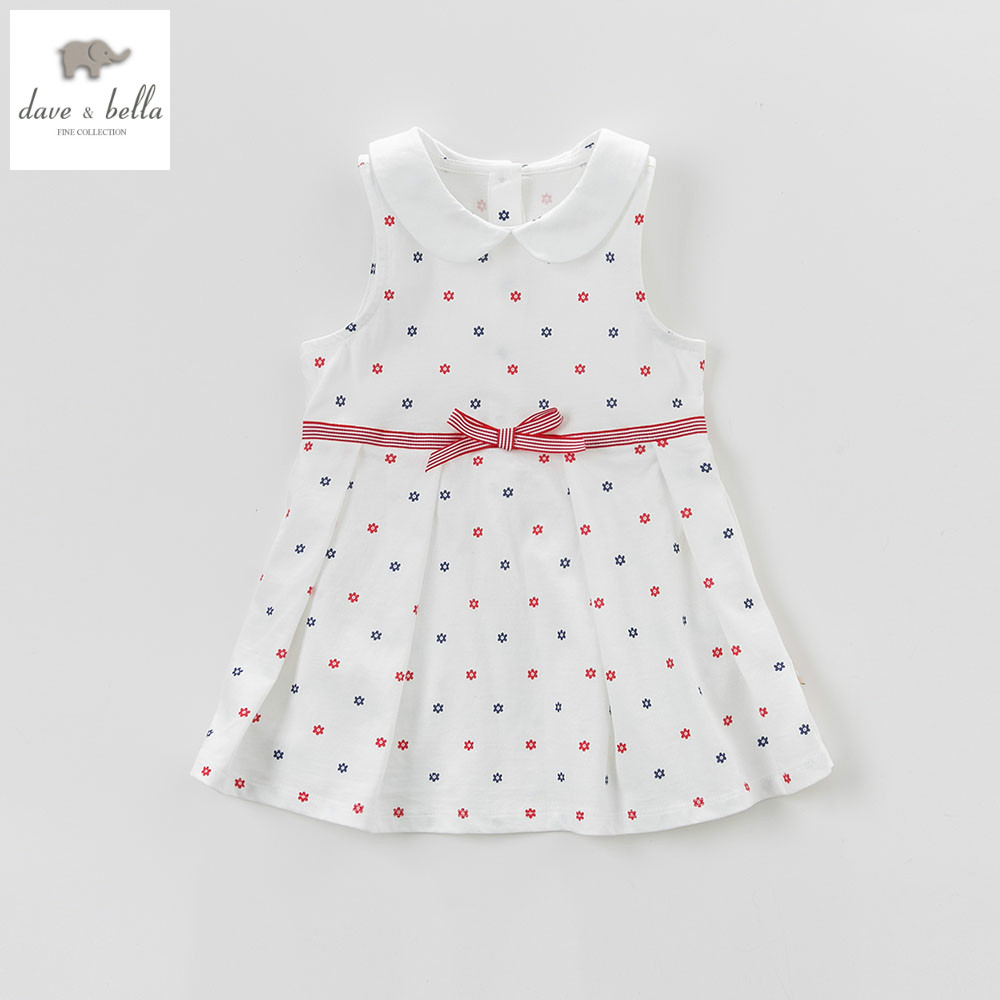 DB5078 dave bella summer baby girls princess dress baby beige printed dress kids birthday clothes dress girls lolita dress db1553 dave bella summer baby dress infant clothes girls party dress fairy dress toddle 1 pc kid princess dress