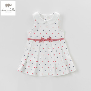 Image 1 - DB5078 dave bella summer baby girls princess dress baby beige printed dress kids birthday clothes dress girls lolita dress