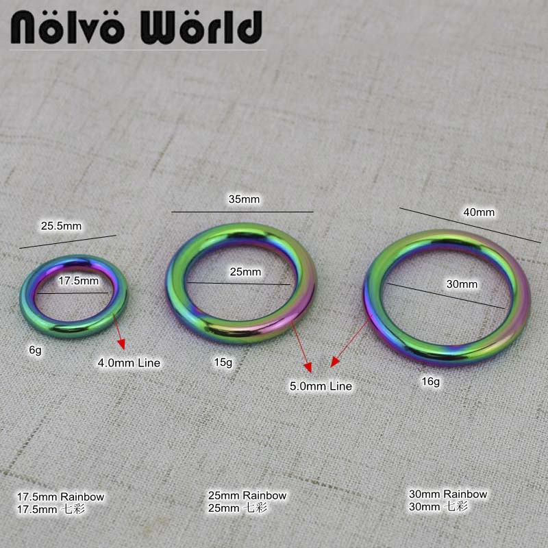 10-30-50 Pieces,3 Size Rainbow Ineer 1.75cm,2.5cm,3cm Welded Rings,Closed Round O Ring For Bags Purse Sewing Crafts