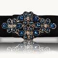 Hongmioo mujeres diseñadores marca de lujo del diamante hebilla de cinturón elástico ancho elastico cintura femenina de la correa cinturones de moda para las mujeres