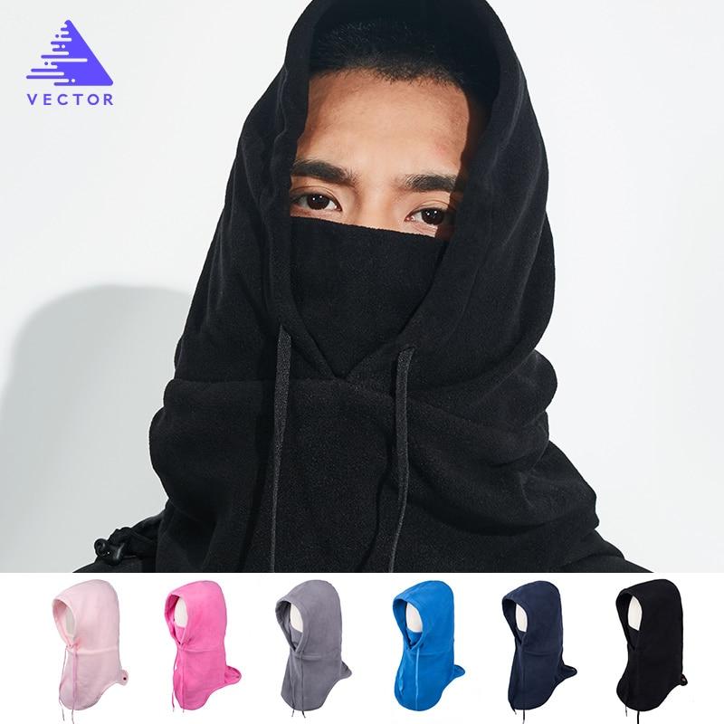 VECTOR Fleece Ski Headgear Windproof Skiing Bibs Winter Warm Snowboard Full Face Mask Snow Sport Headwear Ski Hat Men Women