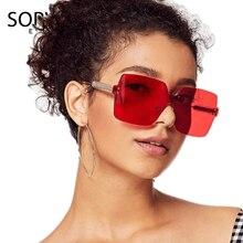 fd6124d896 SORVINO Vintage Rimless Square Sunglasses 2018 Women Men Brand Designer 90s  Crystal