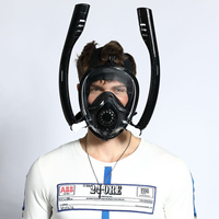 2019 New Design Double breath tube swimming mask Full Face Snorkel Mask Anti Fog Anti Leak for GoPro Adults kids Diving Mask