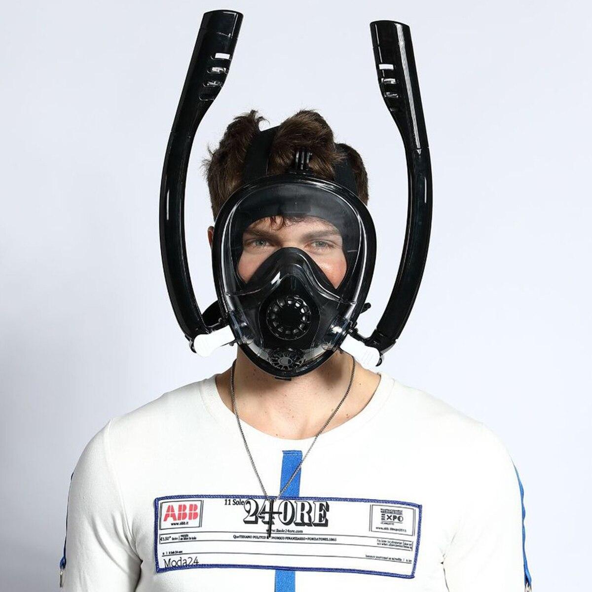 2019 nouveau Design Double tube de respiration masque de natation masque de plongée complet Anti-buée Anti-fuite pour GoPro adultes enfants masque de plongée