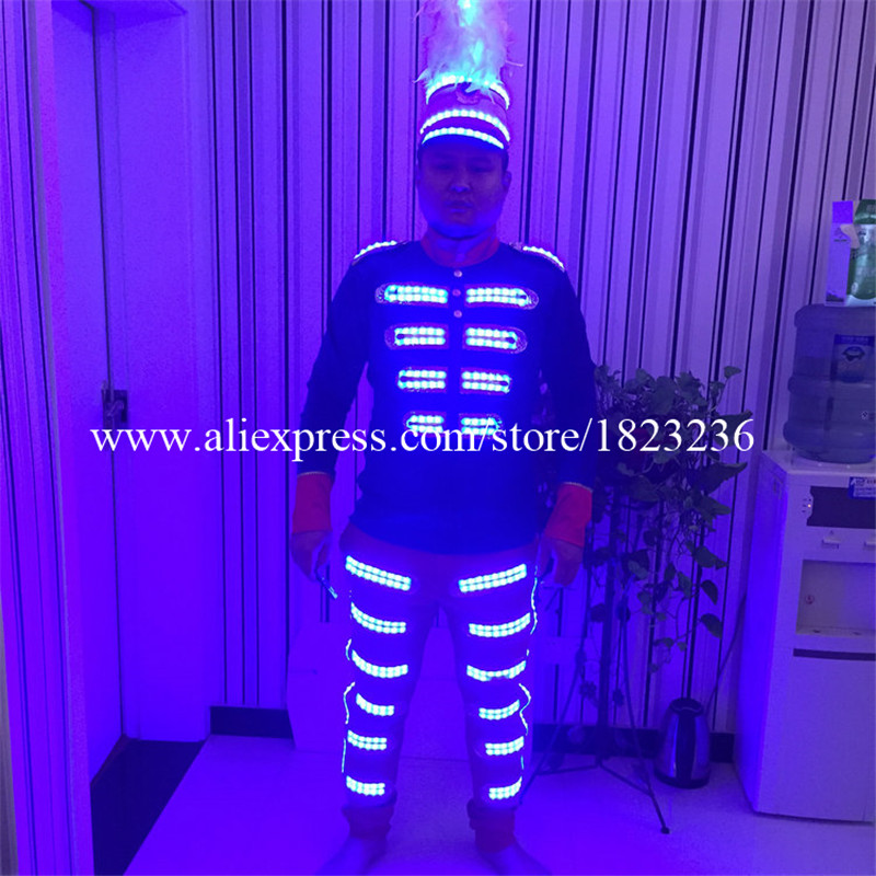 Newest Colorful Led Luminous Men's Costume Ballroom Singer Dancer Clothes Stage Performance Props For Party KTV Nightclub