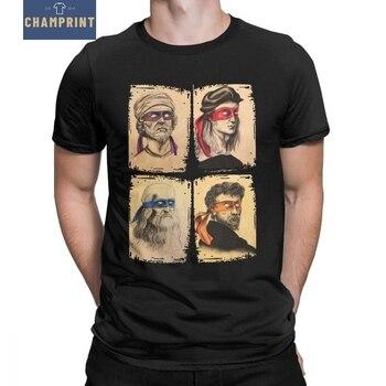 Science Turtles T-Shirt Men Mutant Ninja Short Sleeve Humor Tee Shirt Round Neck 100% Cotton Funny Tops Printed Graphic T Shirt