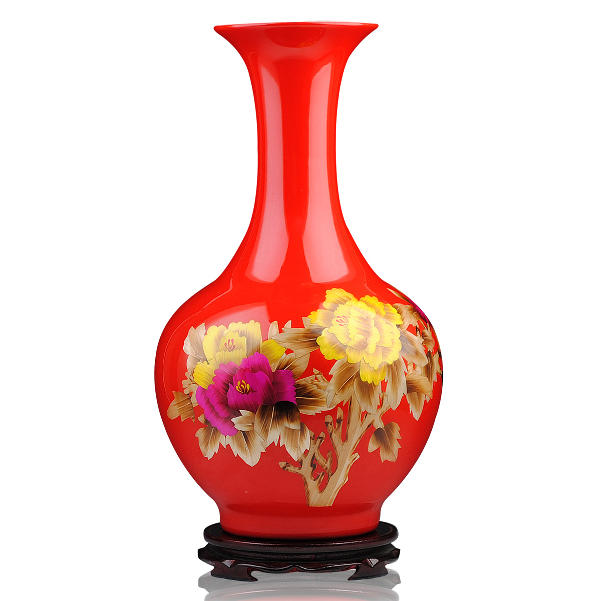 Large ornamental vases - Jingdezhen Ceramics Golden Peony Vase With Red Straw Painting Vases Chinese Ornaments Ornaments Large Living Room
