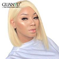 Guanyuhair 613 Blonde Short Bob Wig Pre Plucked Brazilian Remy Human Hair Lace Front Wigs for Black Women 130% Density Free Part