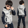 2016 Boys Children Hooded Winter Warm Suit New Jacket Coat & Pants Thicken Kids Clothes Sets