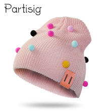 Baby Girls Hat Color Pompom Hat For Girls Winter Crochet Baby Cap Children's Beanie Hats(China)